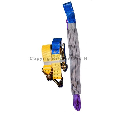Recovery 50mm x 4m with Claw Hook tie down strap assemblies (Wheel Strap Kit)